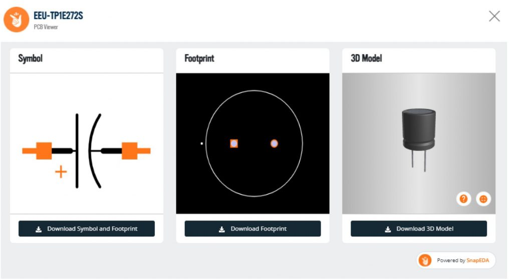 Image 1. The SnapEDA Viewer allows engineers on the Master Electronics and OnlineComponents.com websites to download free CAD models instead of spending days of time creating them from scratch